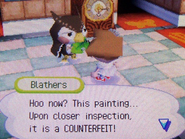 Blathers identifies Crazy Redd's painting as a counterfeit