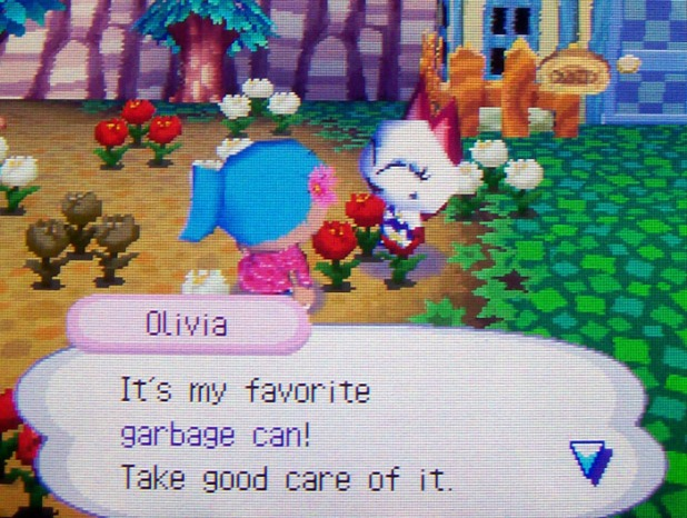 Olivia wants me to take care of her trash can gift