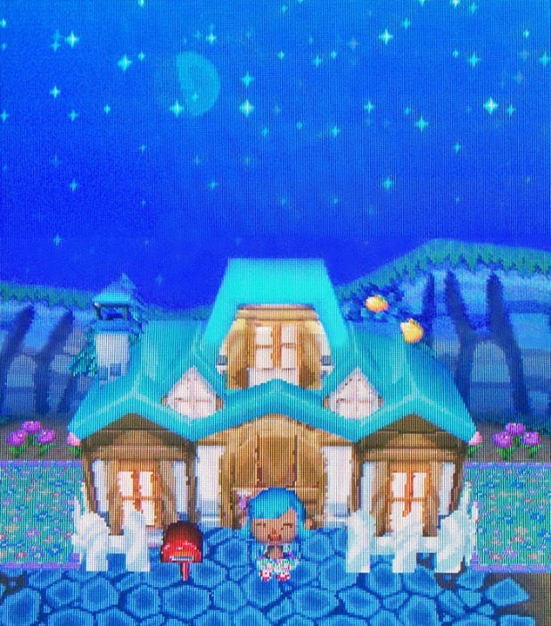 My new mansion exterior with a starry sky