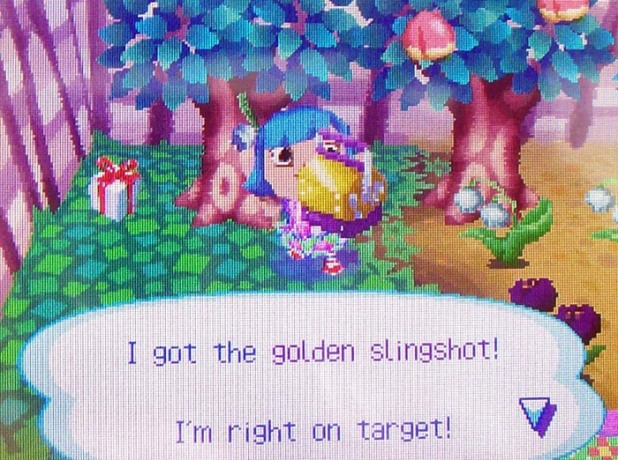 I got the golden slingshot! I'm right on target!