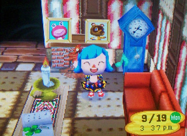 Tom Nook's photo on the fireplace