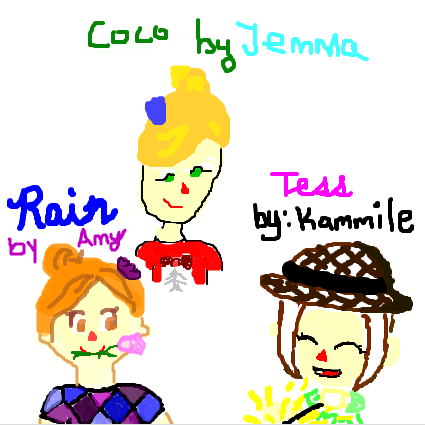 Drawing of Rain, Coco, and Tess