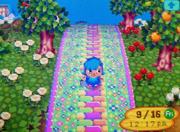 The main paths are too cool in color scheme compared to the warmer grass, as well.