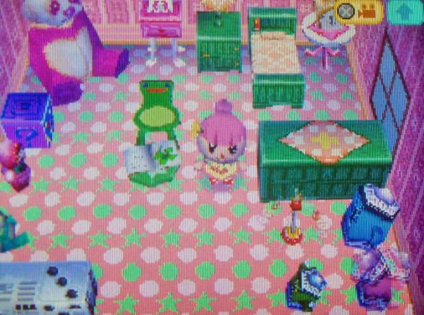 Bell's room set-up with star and polka dot carpet
