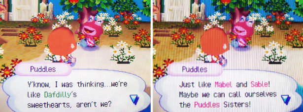 Puddles: Y'know, I was thinking...we're like Dafdilly's sweethearts, aren't we? Just like Mabel and Sable! Maybe we can call ourselves the Puddles Sisters!