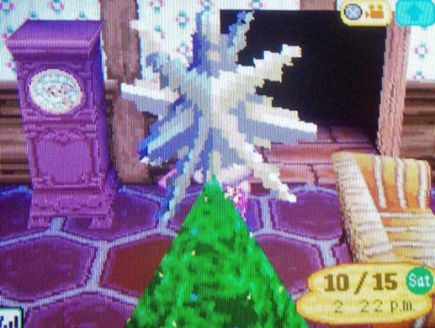 Weird close-up of the star on the Christmas tree