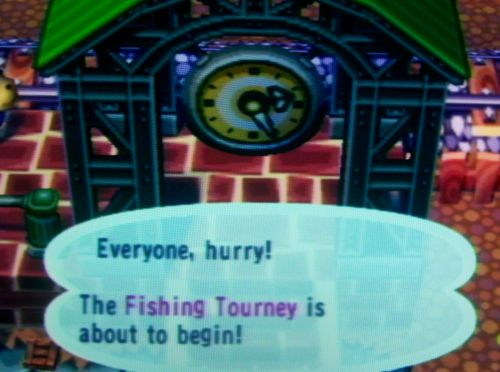 Everyone, hurry! The Fishing Tourney is about to begin!
