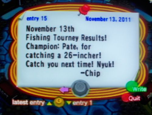 November 13th Fishing Tourney Results! Champion: Pate, for catching a 26-incher! Catch you next time! Nyuk! -Chip