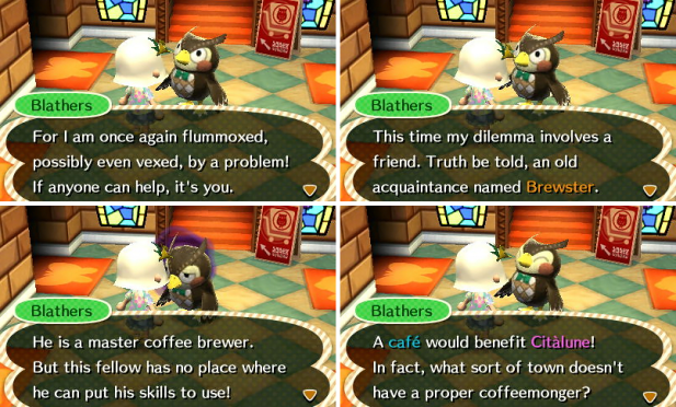 Blathers thinking about building the cafe