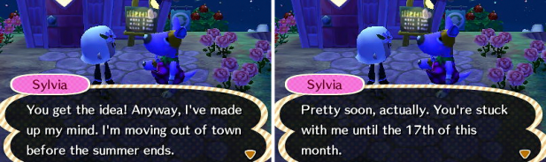 Sylvia announcing her plans to move
