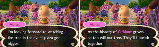 Melba wanting to watch the town tree grow