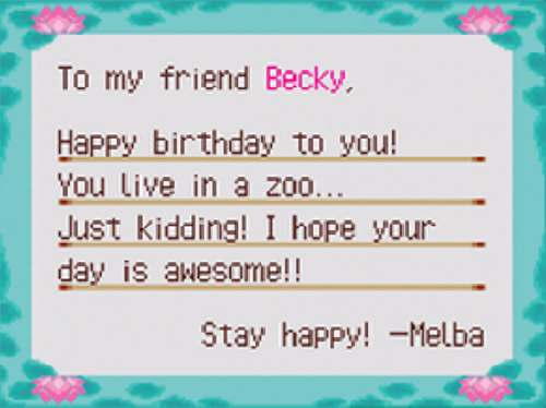 Birthday letter from Melba