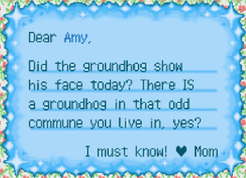 letter from my mom about Groundhog day