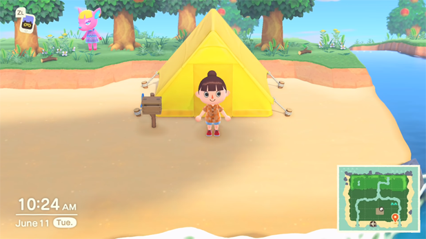 The player's choice for their tent -- at the beach
